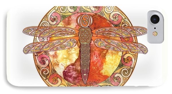 IPhone Case featuring the mixed media Warm Celtic Dragonfly by Kristen Fox