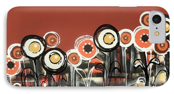 Warm Red Flowers IPhone Case by Graciela Bello