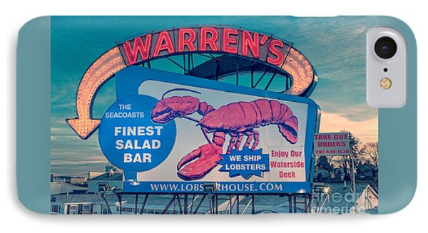 Warrens Lobster House Neon Sign Kittery Maine IPhone Case by Edward Fielding