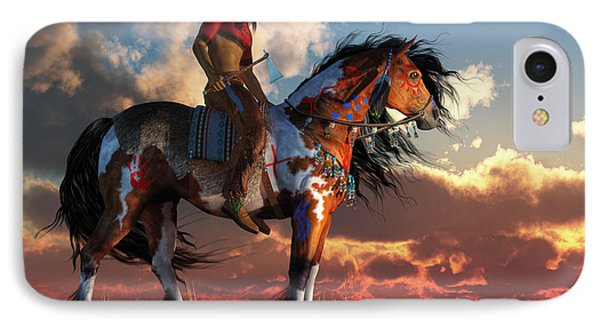 Warrior And War Horse IPhone Case by Daniel Eskridge