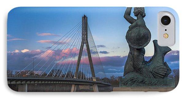 Warsaw Mermaid And Swiatokrzyski Bridge On Vistula IPhone Case by Julis Simo