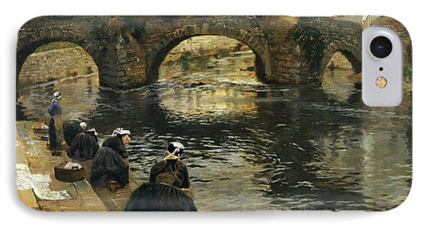 Washerwomen In The Morning At Quimperle  IPhone Case