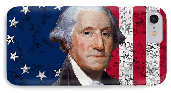 Washington And The American Flag IPhone Case by War Is Hell Store