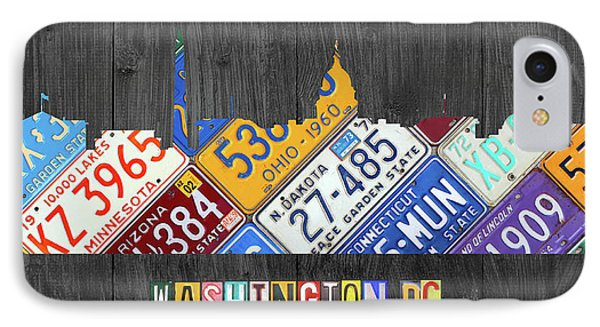Washington Dc Skyline Recycled Vintage License Plate Art IPhone Case by Design Turnpike