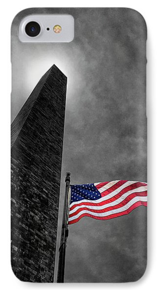 Washington Monument And The Stars And Stripes IPhone 7 Case by Andrew Soundarajan
