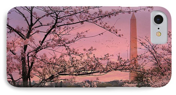 IPhone Case featuring the photograph Washington Monument Cherry Blossom Festival by Shelley Neff