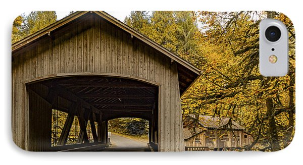 Washington State Covered Bridge And Grist Mill In Autumn  IPhone Case