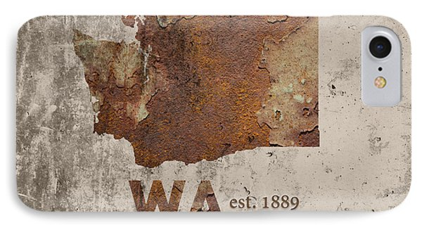 Washington State Map Industrial Rusted Metal On Cement Wall With Founding Date Series 042 IPhone Case
