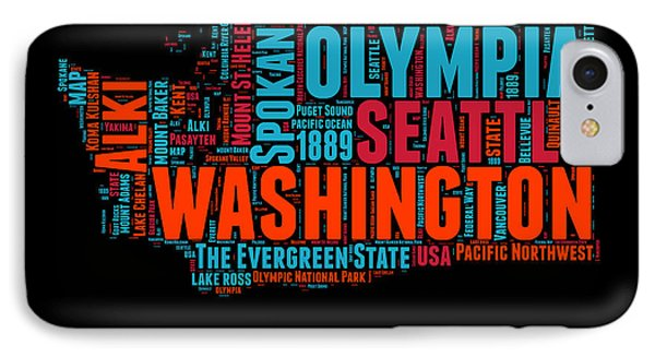 Washington Word Cloud Map 1 IPhone Case by Naxart Studio