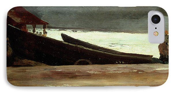 Watching A Storm On The English Coast IPhone Case by Winslow Homer