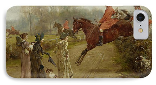 Watching The Hunt IPhone Case by George Goodwin Kilburne