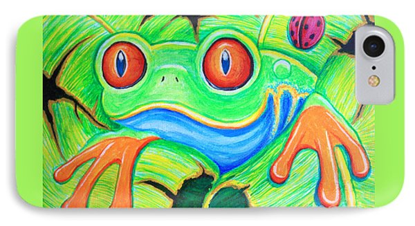 Watching You Red Eyed Tree Frog Phone Case by Nick Gustafson