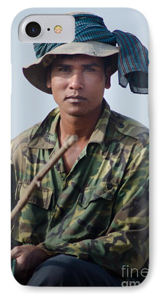 Water Buffalo Driver In Cambodia IPhone Case