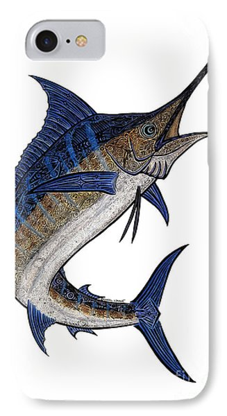 Water Color Tribal Marlin IIi IPhone Case by Carol Lynne