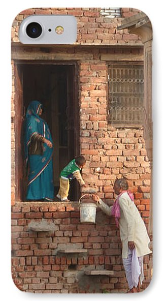 IPhone Case featuring the photograph Water Delivery In Vrindavan by Jean luc Comperat