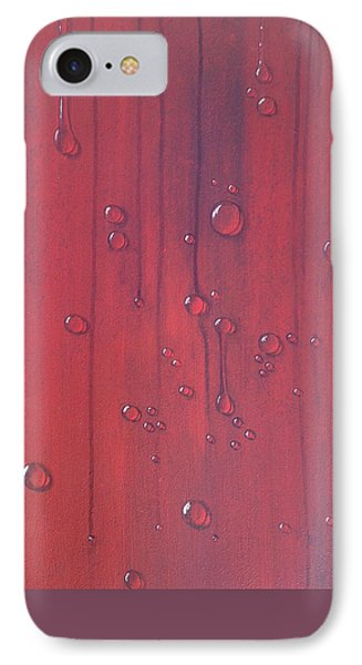Water Drops On Red IPhone Case by T Fry-Green