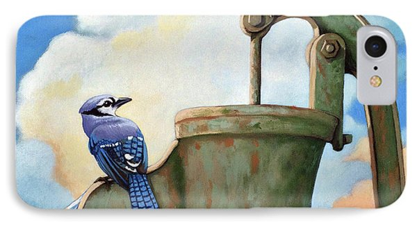IPhone Case featuring the painting Water Is Life #3 -blue Jays On Water Pump Painting by Linda Apple
