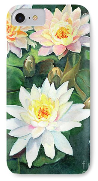 IPhone Case featuring the painting Water Lilies And Koi by Marlene Book