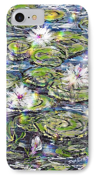 IPhone Case featuring the painting Water Lilies And Rainbows by Desline Vitto