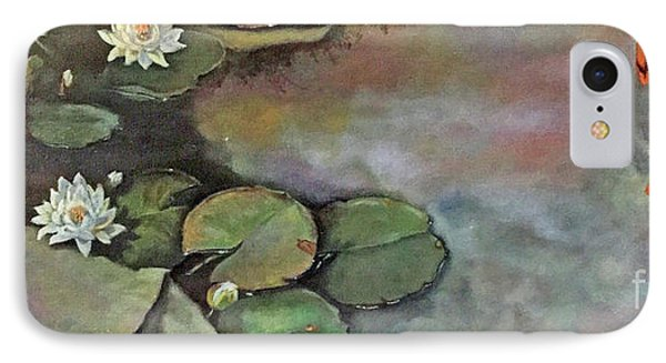IPhone Case featuring the painting Water Lilies Late Afternoon by Marlene Book