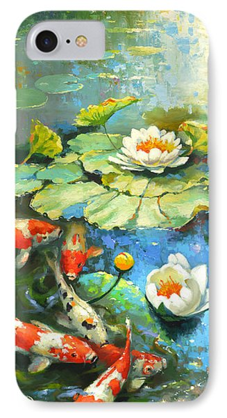 IPhone Case featuring the painting Water Lily Or Solar Pond      by Dmitry Spiros