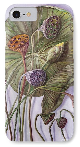 Water Lily Seed Pods Framed By A Leaf IPhone Case by Randy Burns
