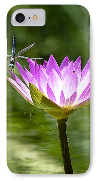 IPhone Case featuring the photograph Water Lily With Dragon Fly by Bill Barber