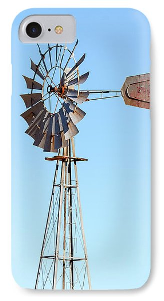 Water Pump Windmill On Blue Sky Background Phone Case by David Gn