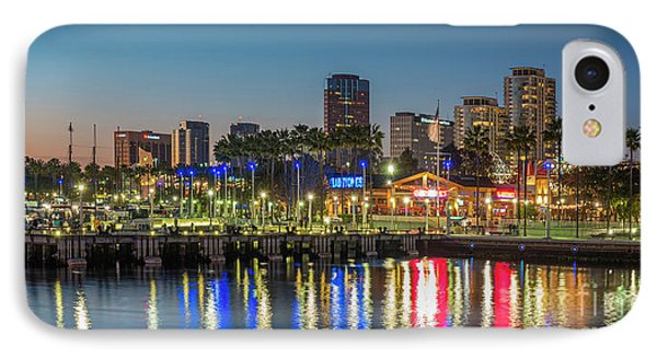 Water Reflecting Lights Sunset Long Beach Ca IPhone Case