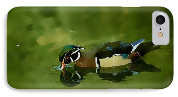 Male Wood Duck Water Reflections IPhone Case by Claudia Ellis