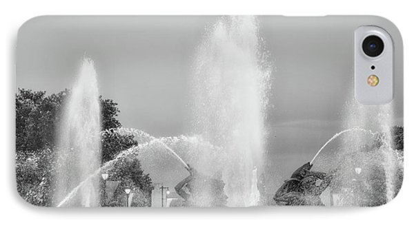 Water Spray - Swann Fountain - Philadelphia In Black And White IPhone Case by Bill Cannon