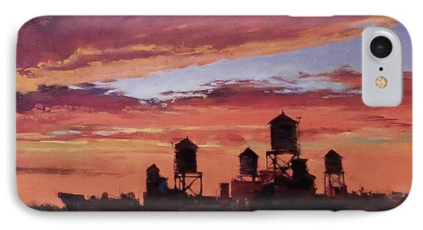 Water Towers At Sunset No. 4 Phone Case by Peter Salwen