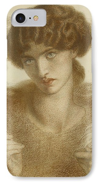 Water Willow - Study Of Female Head And Shoulders IPhone Case by Dante Gabriel Rossetti
