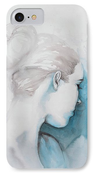 Watercolor Abstract Girl With Hair Bun IPhone Case by Atelier B Art Studio