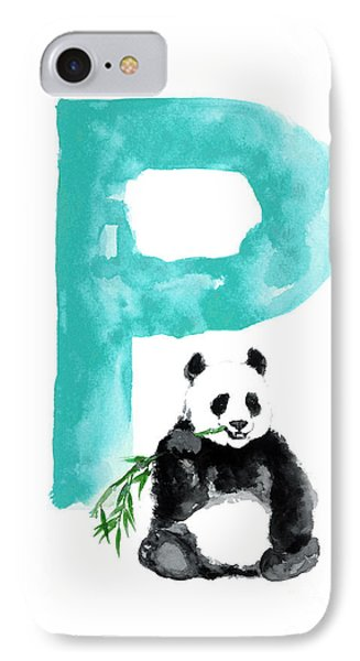 Watercolor Alphabet Giant Panda Poster IPhone Case