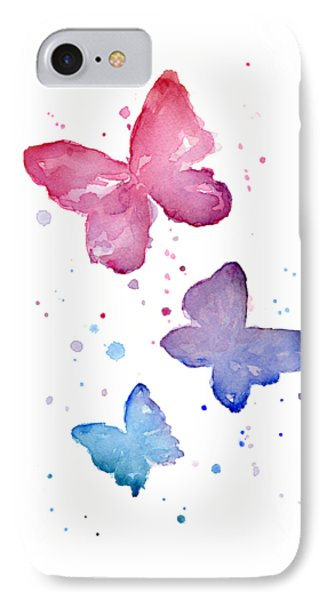 Butterfly iPhone 7 Case - Watercolor Butterflies by Olga Shvartsur