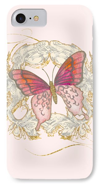 Watercolor Butterfly With Vintage Swirl Scroll Flourishes IPhone Case