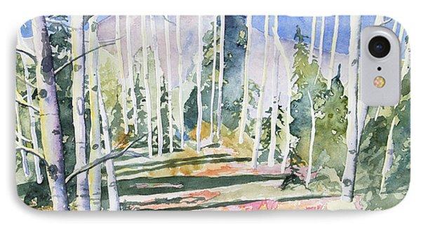 Watercolor - Colorado Aspen And Mountain Landscape IPhone Case by Cascade Colors