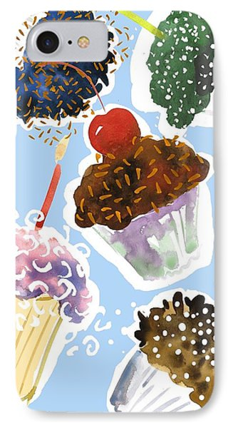 Watercolor Cupcakes With Sprinkles IPhone Case by Gillham Studios