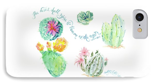 Desert In Bloom 1, Watercolor Desert Cacti N Succulents Inspirational Verse IPhone Case