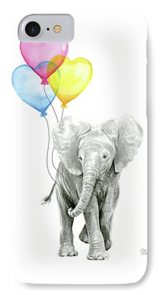 Watercolor Elephant With Heart Shaped Balloons IPhone Case