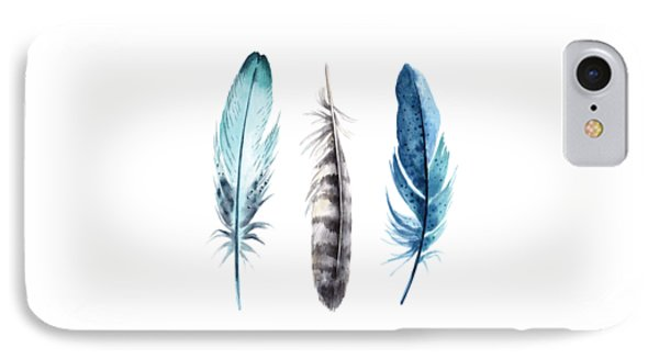 IPhone Case featuring the digital art Watercolor Feathers by Jaime Friedman