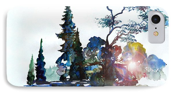 Watercolor Forest And Pond IPhone Case by Curtiss Shaffer