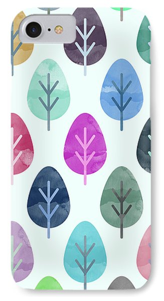 Watercolor Forest Pattern  IPhone Case by Amir Faysal