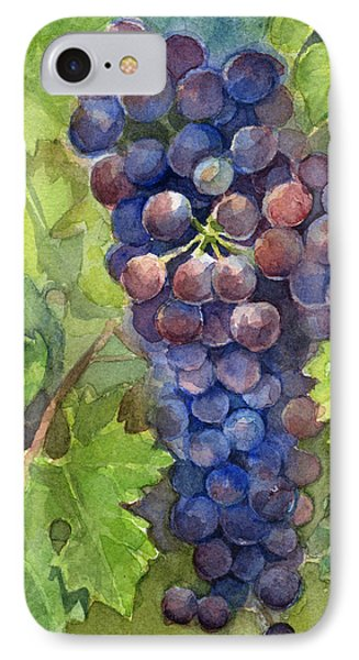 Watercolor Grapes Painting IPhone 7 Case by Olga Shvartsur