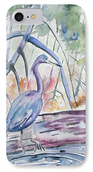 Watercolor - Little Blue Heron In Mangrove Forest IPhone Case by Cascade Colors