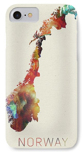 Watercolor Map Of Norway IPhone Case by Design Turnpike