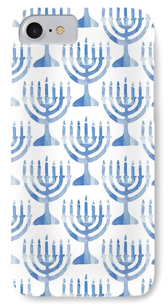 Watercolor Menorahs- Art By Linda Woods IPhone Case