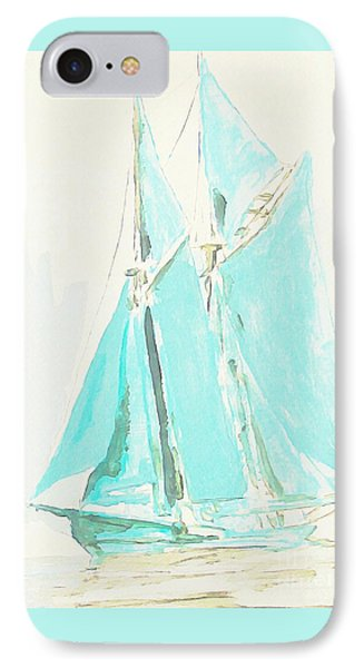 Watercolor Of Schooner  IPhone Case by John Malone