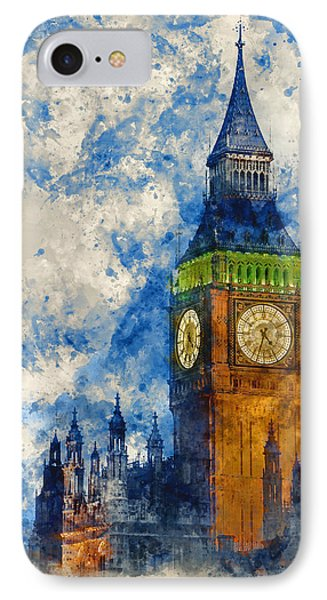 Watercolor Painting Of Big Ben At Twilight Witth Lights Making A IPhone Case by Matthew Gibson